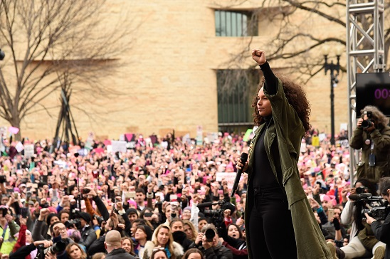 Alicia Keys speaks onstage at the rally at the Women's March on Washington on January 21, 2017