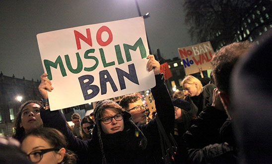 Muslim ban protest, London