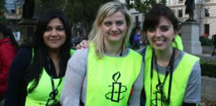 Amnesty students at a demonstration in Parliament Square, London, 2013