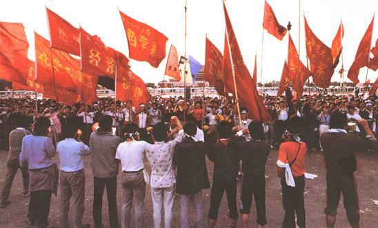 Protesters in Tiananmen Square, Beijing, 1989