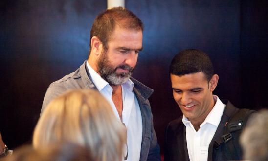 Mahmoud Sarsak meets Eric Cantona at Amnesty's Sidelines football film festival
