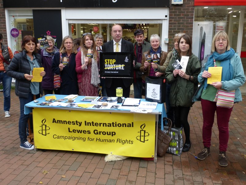 Stop Torture Stall in Lewes, October 2014