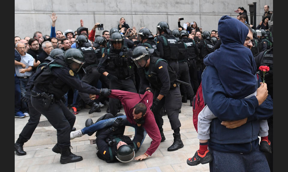 Protesters around the Catalonian independence referendum were subjected to excessive force by Spanish riot police in 2017