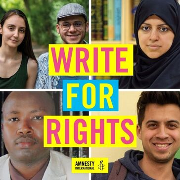 Four images of five people looking at camera with Write for Rights text
