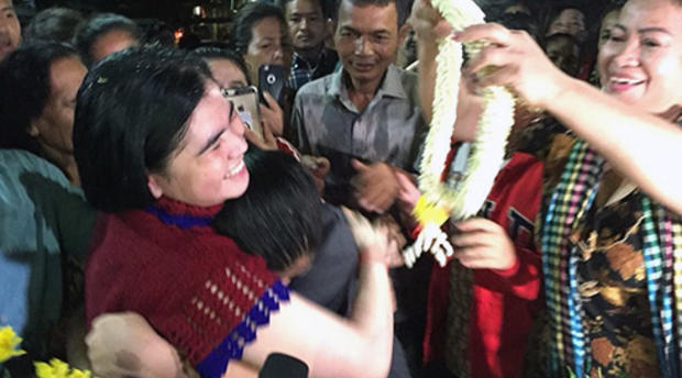 Tep Vanny celebrating her freedom