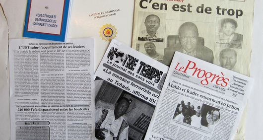 A selection of Chadian publications related to arrests, detentions and attacks on freedom of expression. (Abba Garde, ODEMET, Notre Temps, Le Progrès)