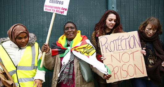 Demonstration calling for the closure of Yarl's Wood Immigration Removal Centre in Essex, 18 November 2017