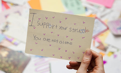 Cards sent by children in support of the Coastel Street families