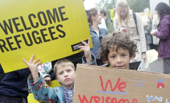 Children at a refugee demonstration