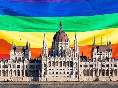 Hungary parliament LGBTI flag