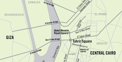 Map of central Cairo, Egypt