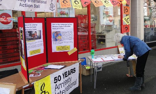 Letter signing stall in Minehead for International Women's Day