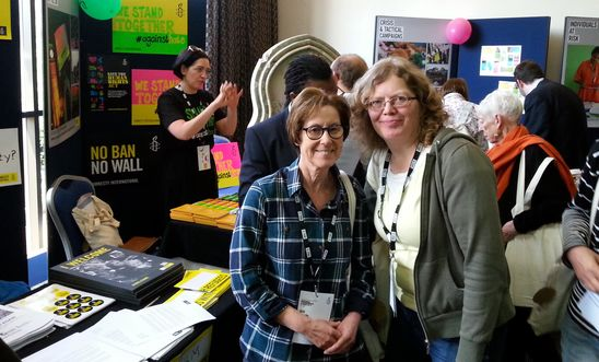 Warrington group members Gill and Sue at the AIUK National Conference in Nottingham