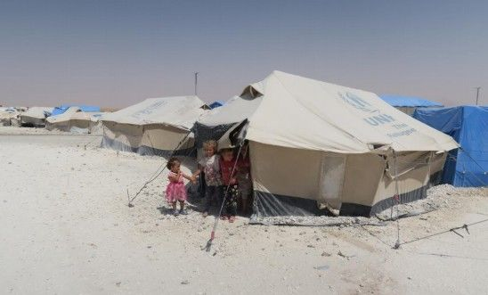 Children displaced by the battle in Raqqa sheltering in northern Syria