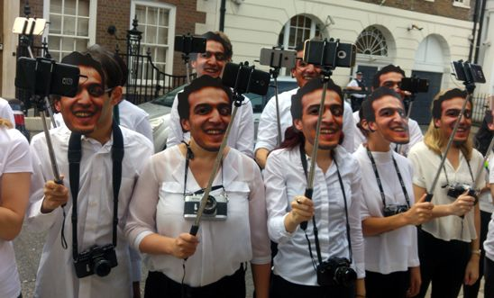 Amnesty activists calling for release of imprisoned photojournalist, Shawkan outside the Egyptian Embassy in London.
