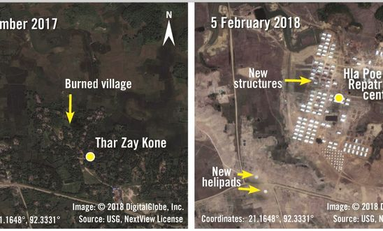 Satellite images show the construction of military buildings and repatriation centres in Hla Poe Kaung in Rakhine State.