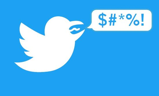 Twitter's logo has been subverted to a bird with a curse word coming from its mouth