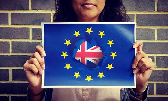 Young person holds up EU and Union Jack flag