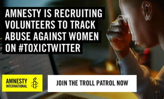 "Image shows a woman looking tense at her laptop and is overwritten ""Amnesty is recruiting volunteers to track abuse against women on #ToxicTwitter"""