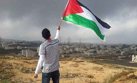 Palestinian flying flag