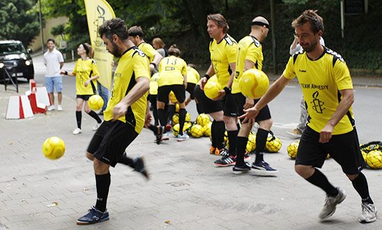 Amnesty International World Cup protest at the Russian Embassy in Brussels