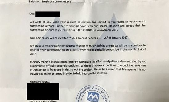 Qatar: migrant workers unpaid for months by company linked to World