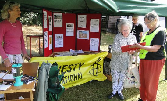 Fete stall with Amnesty members