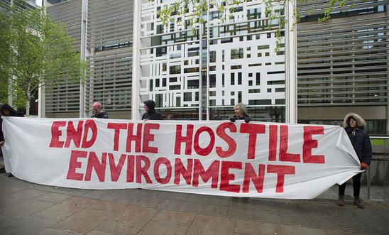Protesters from Global Justice Now demonstrate outside the Home Office