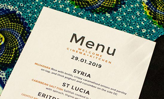 Menu for Welcome Cinema and Kitchen