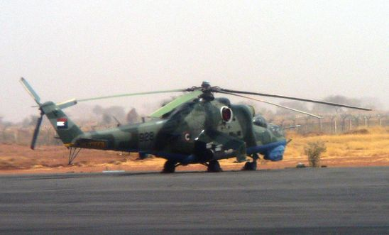 An Mi-24 attack helicopter at Nyala airport in Darfur