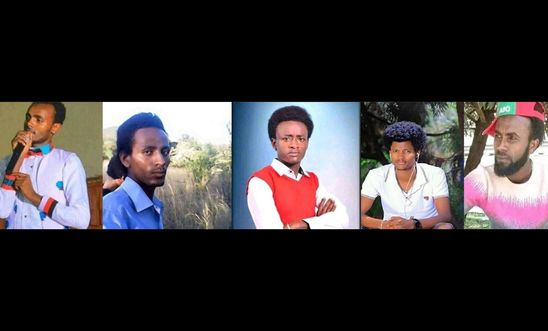 "Five Ethiopian journalists being held on charges of ""incitement to terrorism""."