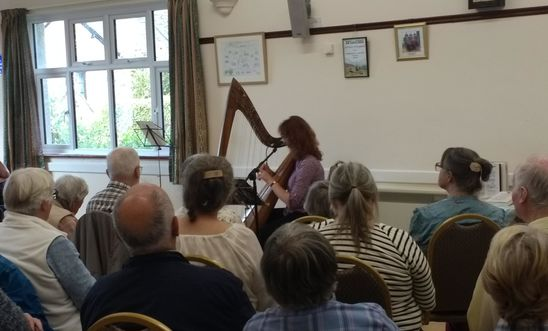 Harp player and audience