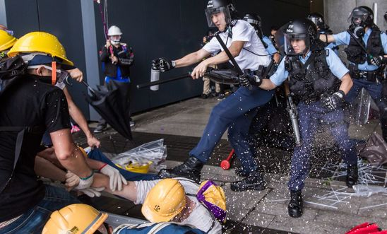 Clashes between police and protesters in Hong Kong