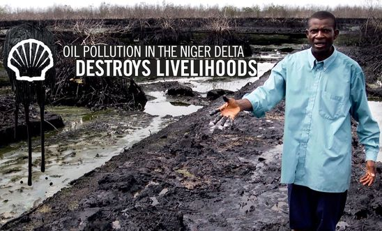 Pastor Christian Lekoya Kpandei showing the damage done to his fish farm in Bodo, Nigeria, May 2011. The farm flourished before the August 2008 oil spill, but the pollution destroyed his fish farm, leaving him and his workers without a regular income.