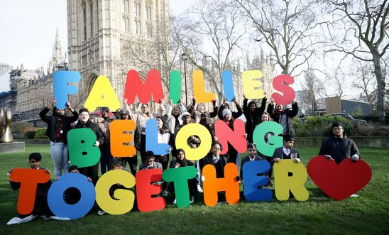 Children, refugees, activists and MPs held a demo at Westminster before delivering petition to the Home Office