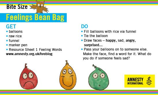 Make bean bags to show different feelings