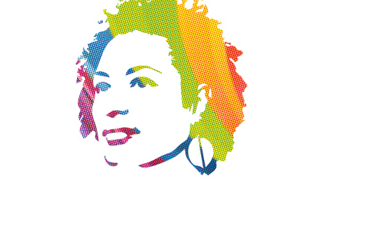 Illustration of Marielle in rainbow colours