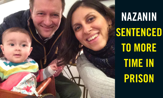 "Selfie of Nazanin and her husband and daughter with text ""Nazanin sentenced to more time in prison"""