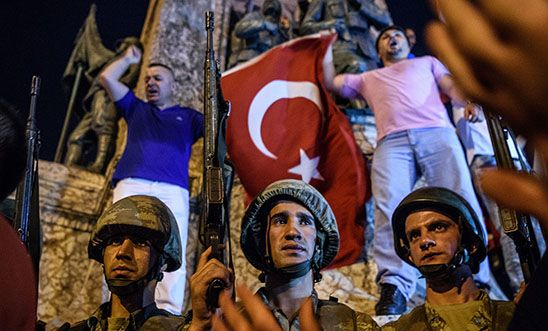Turkish solders stay at Taksim square as people react in Istanbul