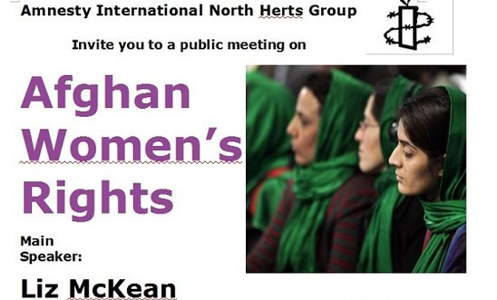 Part of poster for Afghan Women's Rights: 2 Dec 2013, Letchworth Garden City