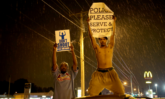 Protests in Missouri after fatal shooting of Michael Brown © Joe Raedle/Getty