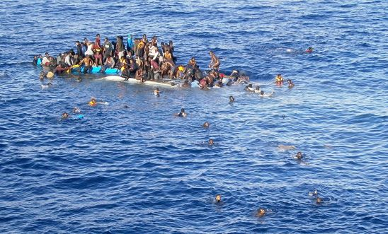An overloaded boat in the Mediterranean