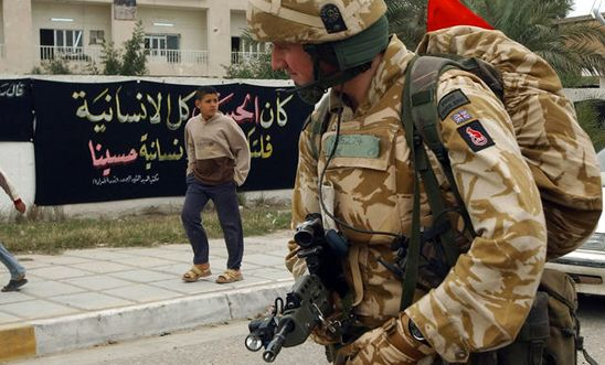 British soldier on patrol in Basra, Iraq