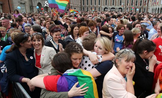 Supporters outside Dublin Castle following the marriage referendum on 23 May