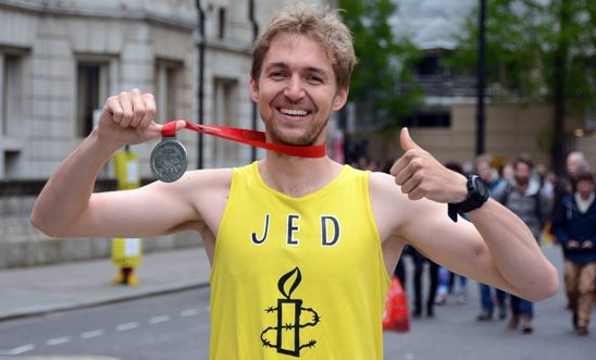 Jed completed the 2015 London Marathon for Amnesty