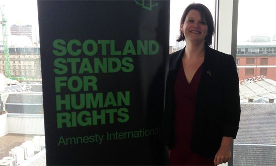 Amnesty Scotland Director Siobhan O'Reardon at the campaign launch on 18 March 2