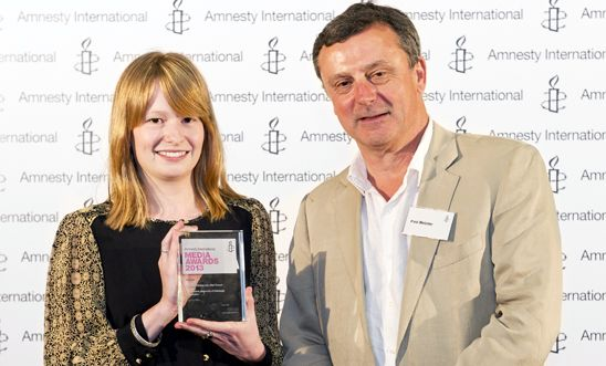 Lauren Wilks, 2013 winner, and the Observer's Paul Webster