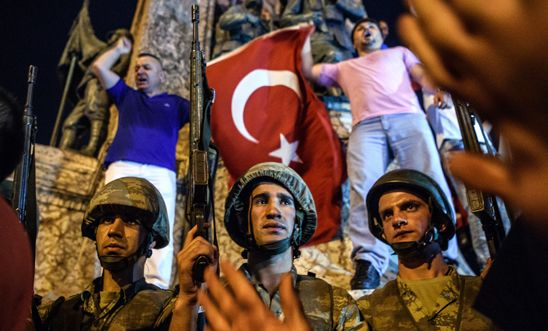 Turkish solders at Taksim square as people protest in Istanbul on 16 July 2016