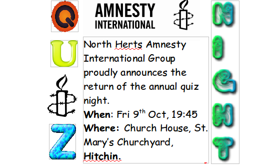 Top of flyer used to promote North Herts AI Quiz Night 2015
