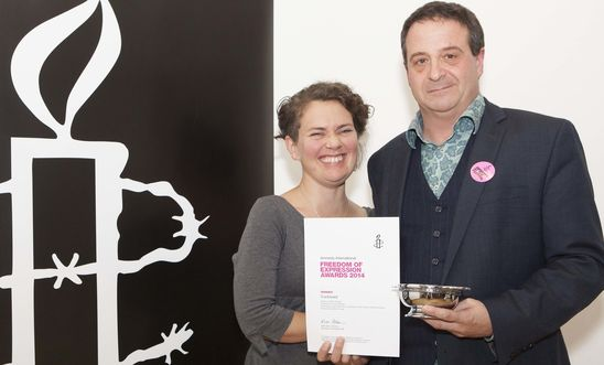 Amnesty Freedom of Expression Award winners 2014 Mark Thomas and Emma Callander